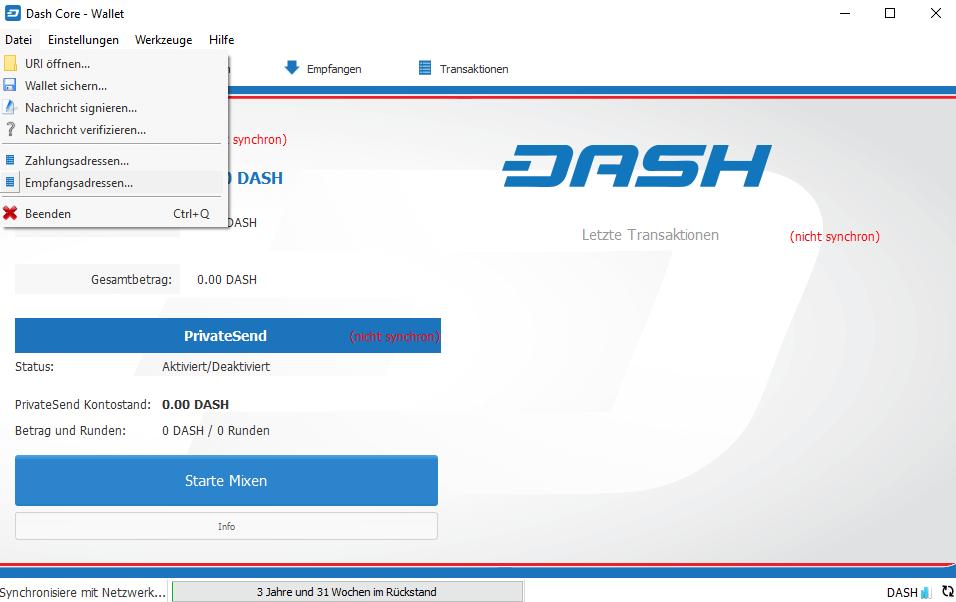 Dash Wallet empfangsadresse