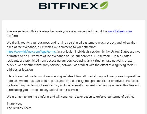 Bitfinex Unverified Users Announcement