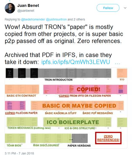 TRON Whitepaper Plagiat